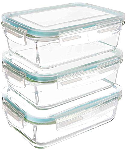 KICHLY - Glass Food Storage Container with lids - Set of 6 Pieces (3...