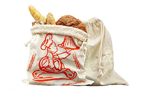 Brotbeutel aus 100% Baumwolle, Brotsack ideal für die Aufbewahrung von Backwaren jeglicher Art für unterwegs oder zuhause, hält Backwaren auf natürliche Art und Weise länger frisch (Vollstoff, 38x42)