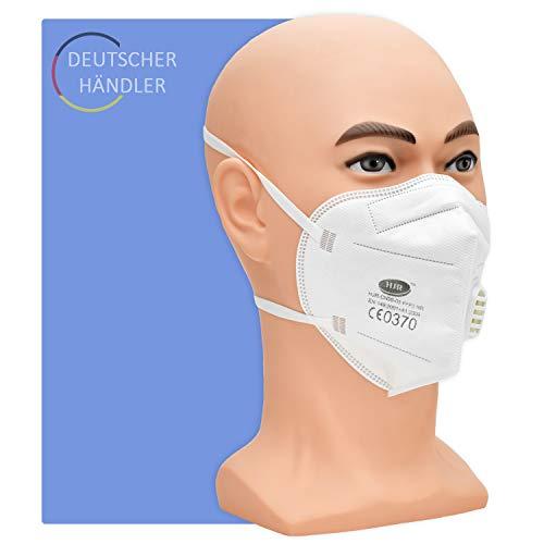 Partikelfilter Maske Typ FFP 3 NR mit Ventil - 5 Stück pro Packung - 5-lagige Atemschutzmaske gegen Staub, Rauch und festen und flüssigen Aerosolen