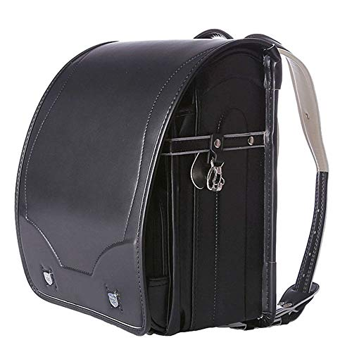 YMXLJJ Japanese Elementary School Student Schoolbags, PU Leather Backpacks with Automatic lock, Suitable for Children's Schoolbags in Grades 3-5,Black