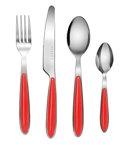 EXZACT Rostfrei Stahl Besteck Set einem Plastikhalter 16 PCS - Farbige Griffe - 4 Gabeln, 4 Messer, 4 Löffel, 4 Teelöffel - Rot (EX07 x 16)