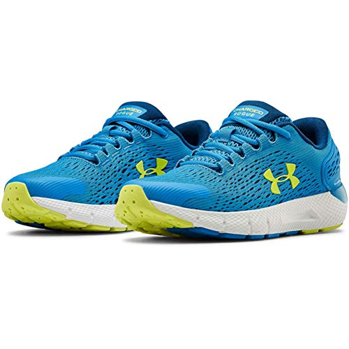Under Armour Unisex Kid's Grade School Charged Rogue 2 Road Running Shoe, Electric Blue/Graphite Blue/Yellow Ray (402), 6