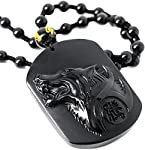 SCOO Hand Carved Natural Genuine Obsidian Howling Wolf Head Amulet Pendant Necklace