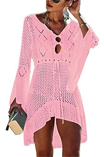 Gestrickte Bikini Cover Up Strandponcho Strandkleid für Damen Sommer Pareos (Pink)