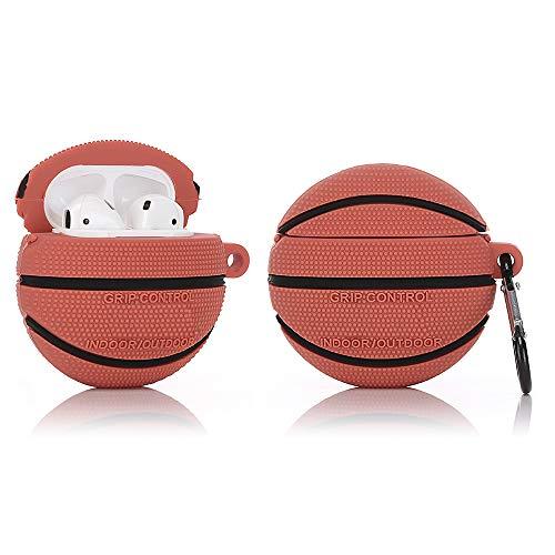 YIGEYI Funda de Silicona Compatible con Airpods 1 y 2 Case Cover Divertida de Dibujos Animados en 3D[Serie de Deportes al Aire Libre] (Baloncesto)