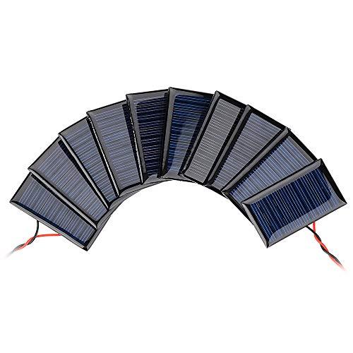 AOSHIKE 10Pcs 5V 30mA Mini Solar Panels for Solar Power Mini Solar Cells DIY Electric Toy Materials Photovoltaic Cells Solar DIY System Kits 2.08x1.18(5V 30mA 53mmx30mm)