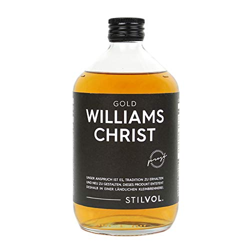 STILVOL. Williams Christ Gold | 500ml | 36% Alkohol | Premium Schnaps mit eingelegter Birne