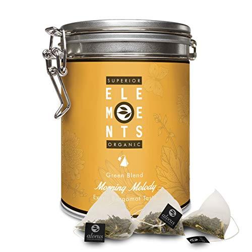 'Morning Melody' Tè Verde Bio sapore Mango Arancia e Bergamotto, Barattolo da 15 Filtri Piramidali - alveus Premium Teas