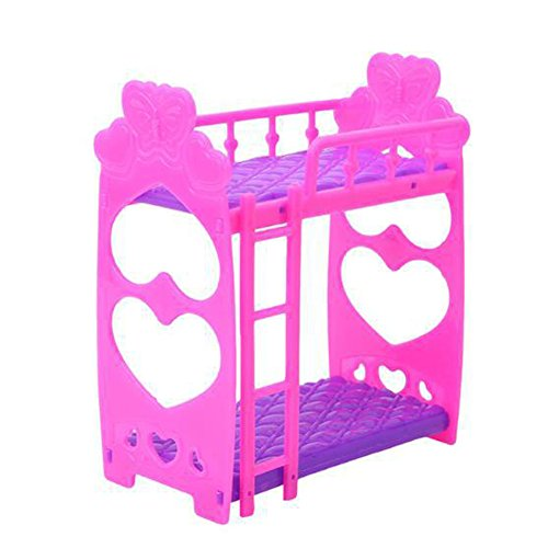 Barbie bed Beautiful Plastic Bunk Bed Bedroom Furniture Bed Set for Barbie Dolls Dollhouse, Bedroom Purple Kids Toy Frame Doll Double Bed Dollhouse Girls Gift, (Rose Red)(Rose Red)