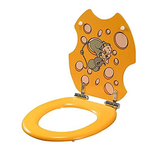 SunLin Asiento De Inodoro Resina, Toilet Seat Dibujos Animados, Tapa WC Silencio, Fácil De Instalar Y Limpiar, Bisagra De Calidad, Desmontaje Y Montaje Rápidos, Fuerte Y Robusto