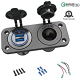 Quick Charge 3.0 Cigarette Lighter Outlet Splitter, 12V USB Charger Waterproof Power Socket Adapter DIY Kit with Blue LED Dual USB Ports for Rocker Switch Panel on Car Boat Marine RV, etc