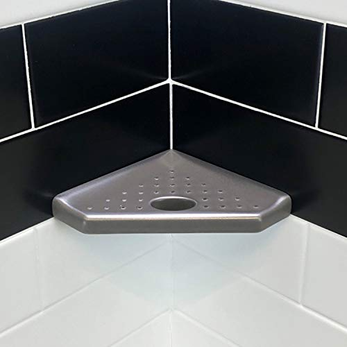 5 inch Bathroom Organizer Corner Shower Caddy - Brushed Nickel Cast Metal Shower Foot Rest Geo Lugged for New Construction