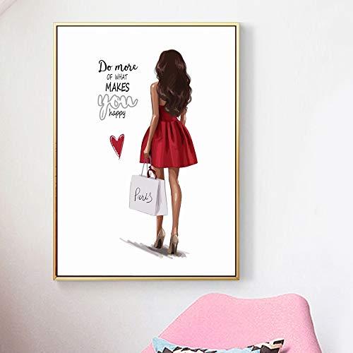 Mode Mädchen Rose Parfüm Wandkunst Leinwand Malerei Aquarell Nordic Poster Und Drucke Wandbilder Für Wohnzimmer Wohnkultur 40x60cm