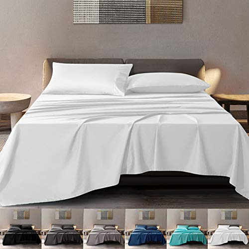 SONORO KATE 100% Pure Egyptian Cotton Sheets Sets,Cooling Bed Sheets 600 Thread Count Long Staple Cotton,Sateen Weave for Soft and Silky Feel, Fits Mattress 16'' Deep Pocket (White, King)