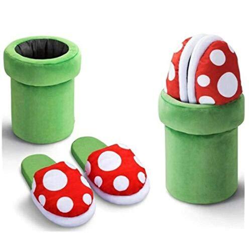 i4t.AIX Super Mario Piranha Pflanze Fliegenfalle Hausschuhe Süße Plüsch Hauskleidung Hausschuhe Erwachsenengröße