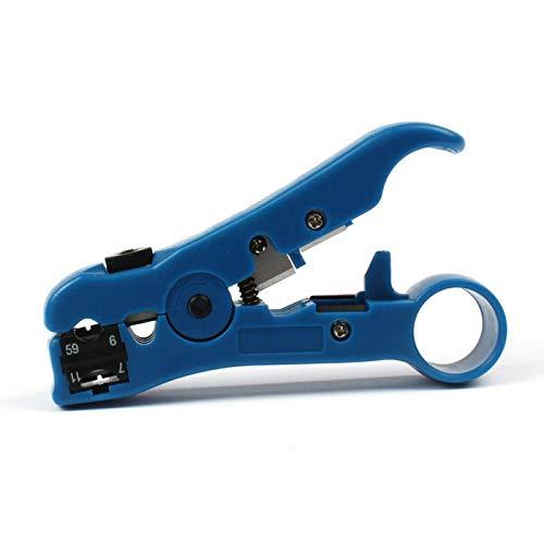 Herramienta para pelar cables BE-TOOL, cortador de cables universal, cortador de pelacables para TV plana o redonda/UTP Cat5 Cat6 alambre coaxial herramienta de pelado, azul