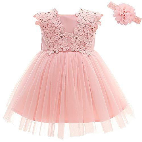 Moon Kitty Baby Girl Dress Christening Baptism Gowns Flower Girl Dress Pink