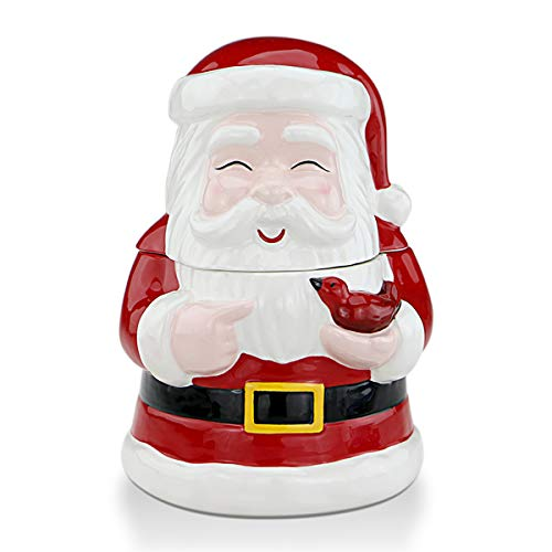 STAR MOON Christmas Santa Claus Ceramic Candy & Cookie Jar for Christmas Decoration, Living Room, Centerpieces, Bedroom - Smiling Festive Santa Claus