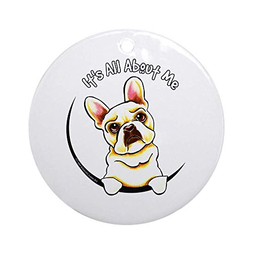 128 buyloii Fawn Frenchie IAAM Ornament (Round) Personalized Ceramic Holiday Christmas Ornament Ideas 2019