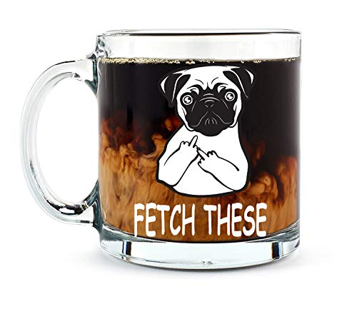 Fetch This Cute Dog Middle Finger - Funny Pet Coffee Mug - 13OZ Glass Coffee Mug - Mugs For Women, Boss, Friend, Employee, or Spouse - Perfect Borthday Gift - By AW Fashions
