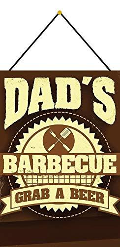 Generisch Cartel de Chapa 20 x 30 cm arqueado con cordón Dad ́s Barbecue nimm una Cerveza Barbacoa Barbacoa Cocina Retro Decoración Regalo Cartel