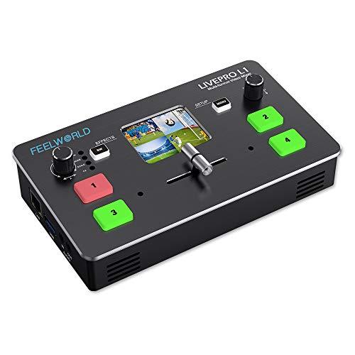 FEELWORLD - Conmutador múltiple de vídeo (4 entradas HDMI, USB 3.0, transmisión en directo)