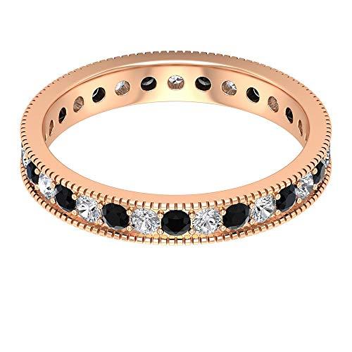 Anillo de oro de ónix negro y diamante de 1 ct, anillo de eternidad de diamantes HI-SI, anillo de compromiso de corte redondo de 2 mm, anillo grabado en oro, 18K Oro rosa, Size:EU 55