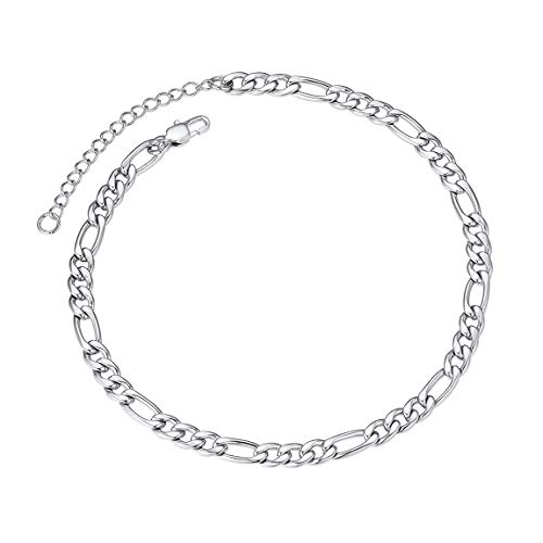 Sturdy Ankle Bracelet 5mm 8.5' with Extension Chain Stainless Steel Foot Chain Silver Color