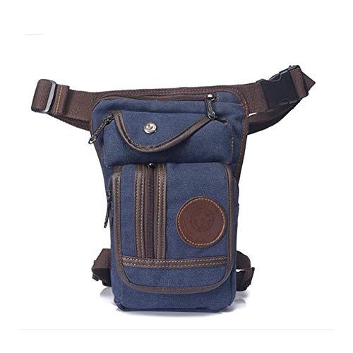 Riñonera para hombre, para muslo, para motocicleta, nailon, lona, para montar en la cintura, varios bolsillos, Lona azul.,