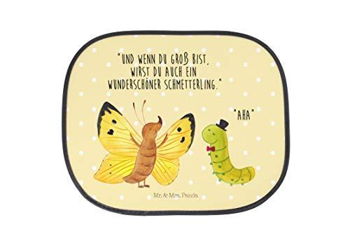 Mr. & Mrs. Panda Sonnenblende, Auto, Auto Sonnenschutz Raupe & Schmettering mit Spruch - Farbe Gelb Pastell