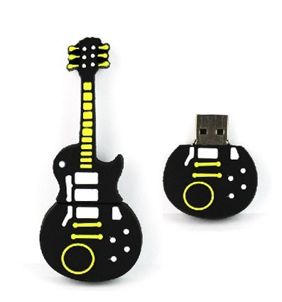 Flash Drive – 8GB Novelty Cool Yellow Black Guitar Memory Stick with Fast...
