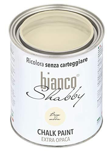 bianco Shabby Chalk Paint Sandfarben für Möbel und Wände – Shabby Chic Vintage Extra Matt (1 Liter)
