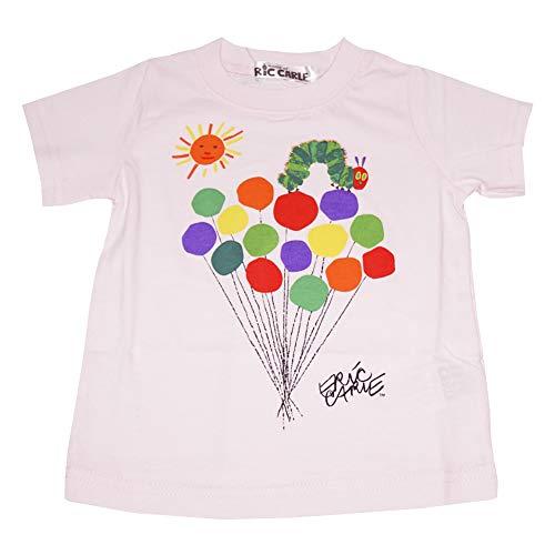 【本体綿100%】2021年 夏物 はらぺこあおむし 天竺 風船柄 半袖Tシャツ THE WORLD OF ERIC CARLE ピンク◇100cm