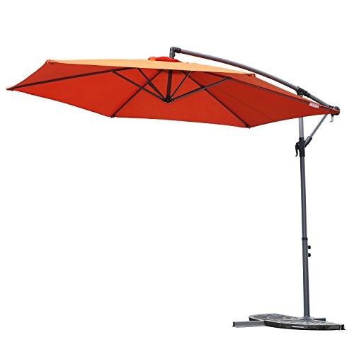 Angel Living 3M Parasol Excéntrico Sombrilla Voladiza con Manivela para Patio Exterior, Grande y Estable (Terracota)