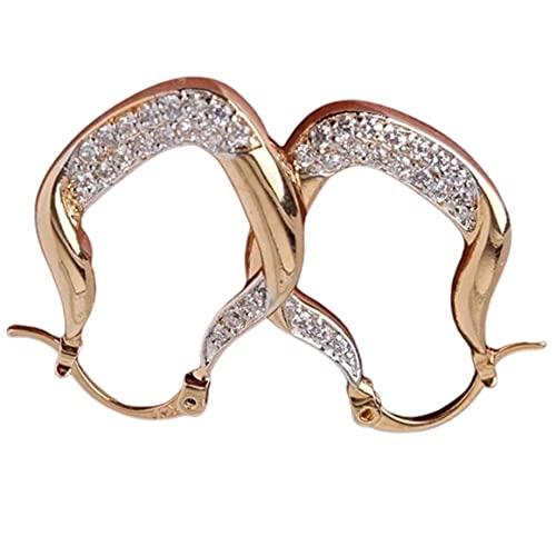 Persdico Pendientes Colgantes de Cristal de Oro Amarillo de 18 Quilates para Mujer, joyería en Forma de U, Tachuelas geométricas de Moda para Mujer