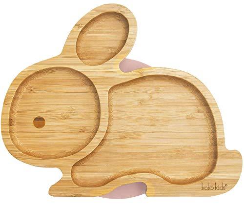 Plato Bambu de Conejo con Ventosa ~ Hecha de Bambú Natural ~ Plato de alimentación para bebés y niños pequeños con un aro de succión fuerte