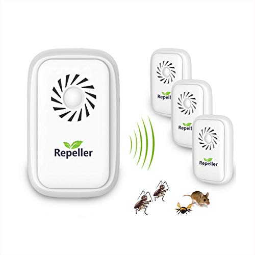 Repelente Ultrasonico Antimosquitos, anti hormigas,repelente hormigas,Control de Insecto para Moscas, Hormigas, Insectos, cucarachas, roedores, 100% Inofensivo para Mascotas y Humanos (4 Packs)