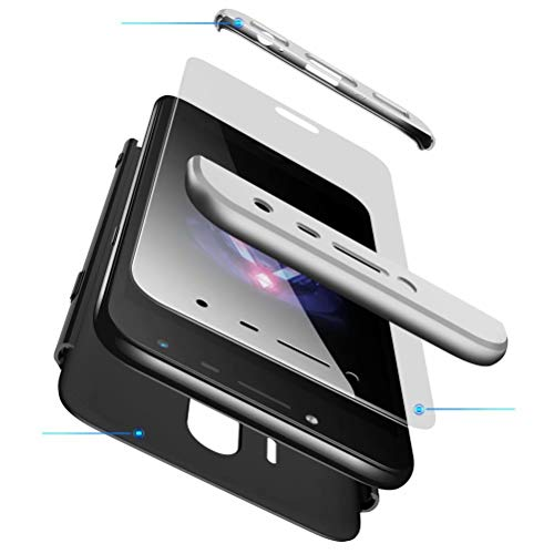 AILZH Funda movil Compatibles para Samsung Galaxy J7 2017 Carcasa+[Cristal Templado] 360 Grados Caja protección de cáscara Dura Anti-Shock Caso Mate Bumper Antichoque Case Cover(Plata Negro)