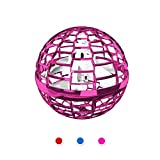 EFINNY Flying Drones for Kids or Adults, Induction Flying Ball Toys with Cool Light, Hand Operated Drone with Thrown'Go Multirotors (Pink(no Controller))