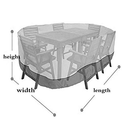 Tuinmeubelhoes, zware stofdichte en UV-bescherming regenhoes, geschikt voor terrastafels en stoelen, Khaki 325x208x58cm Blauw