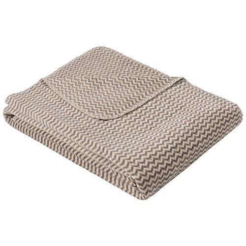 Ibena Andschara Kuscheldecke 150x200 cm - gemusterte Decke wollweiß grau, Pflegeleichte und kuschelweiche Baumwollmischung
