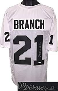 Autographed Cliff Branch Jersey - White TB Custom Stitched Pro Style #21 Witnessed Hologram - JSA Certified