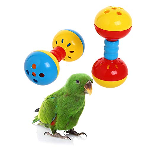 QBLEEV Parakeets Conures Toys, Bird Rattles Bells Foot Toys, Enrichment Barbell Ball Toys, Play Gym Activity Center Cage Accessories for Medium Parrots-2 Pack