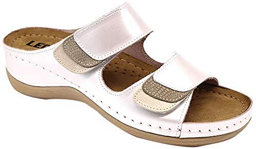 LEON 904 Zuecos Zapatos Zapatillas Cuero Mujer, Perla