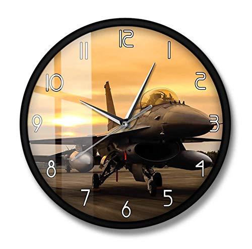 DFERT Reloj De Pared Falcon Fighter Jet Aircraft Reloj De Pared De Avión Fuerza Aérea De Los Estados Unidos Arte De Pared De Aviones Decoración De Aviación Regalo De Piloto Militar-Marco De Metal