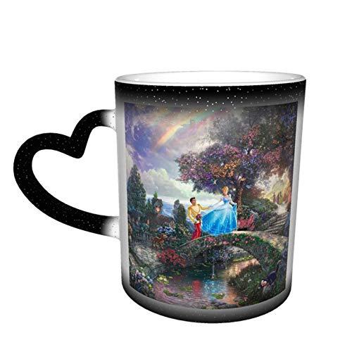 Taza de café con diseño de castillo de ensueño, de Cenicienta, de cerámica, de color cambiante, para amantes de la familia, amigos, oficina y regalo de salud en el hogar