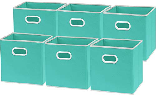 6 Pack - SimpleHouseware Foldable Cube Storage Bin with Handle, Turquoise