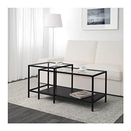 Ikea Vittsjo Beistelltisch-Set, 2 Stück, schwarz-braunes Glas, 802.153.32, Größe 35 3/8 x 19 5/8 Zoll