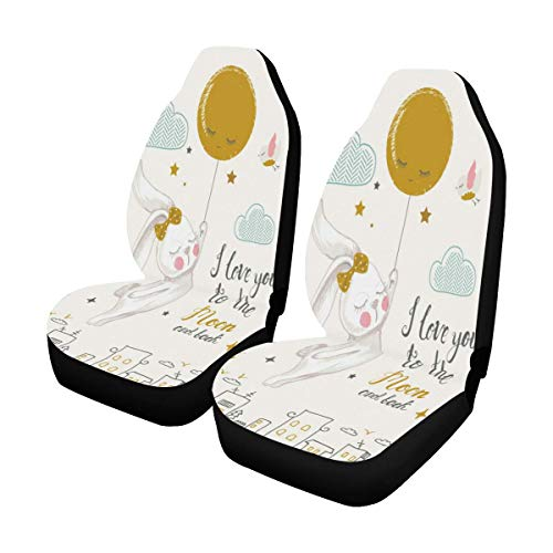InterestPrint Bunny I Love You to The Moon and Back Car Front Seat Set Auto Seat Covers for SUV,Car,Truck,Sedan,Minivan, 2Pcs