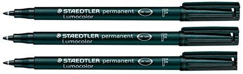 Staedtler Lumocolor Permanentmarker, 3Stück feine Spitze Wasserdicht resistent Reibung schnelltrocknend für CD DVD OHP schwarz